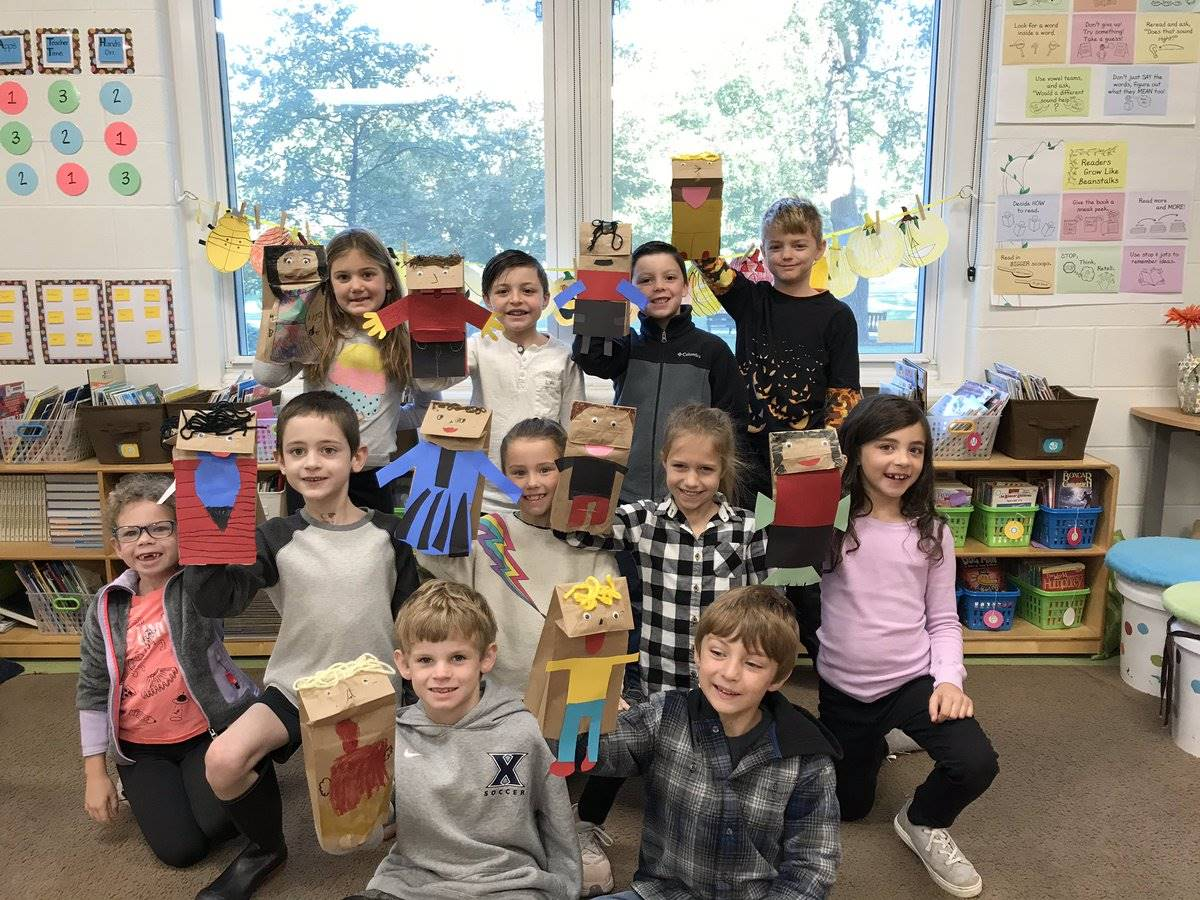 elementary classroom with puppets