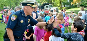 Police officer and children