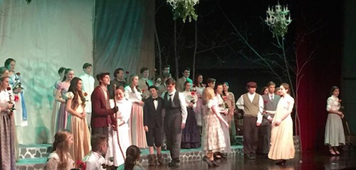 Theater students performing a play